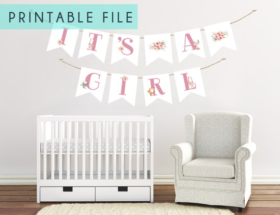 PRINTABLE It's A Girl Banner Woodland Baby Shower Decor Nursery Bunting Banners Decorations Woodland Baby Showers Welcome Girl Fox Animal