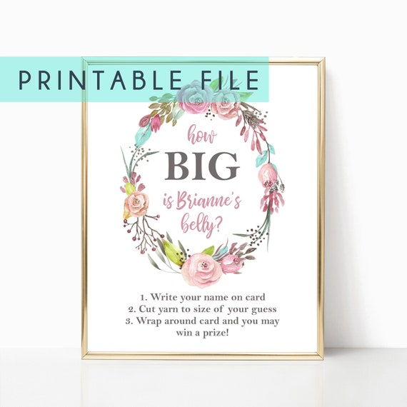 How Big Is Belly Game Baby Shower Sign Display Poster Floral Girl Woodland Baby Showers Decorations Decor Animal Floral Wreath Cut Yarn Wrap