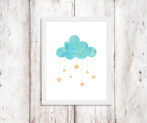 Cloud Nursery Decor Wall Art Boy Girl Baby Room Baby Shower Gift Digital Print Download Printable Downloadable Nursery Prints Star Gallery