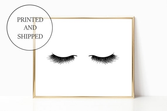 Eyelashes Glam Decor Fashion Print Sign Wall Art Prints Signs 11 x 14 Printed Makeup Eyelash Mascara Woman Gift For Her Home Girly Office