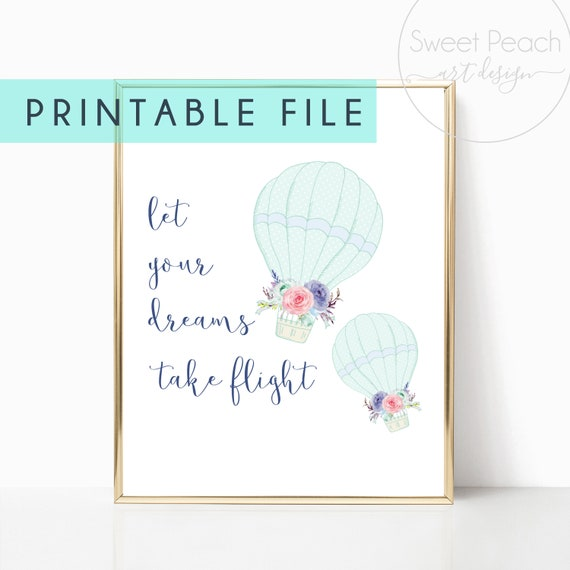 Hot Air Balloons Nursery Decor Girl Flowers Room Print Download Printable Downloadable Wall Art Prints Baby Room Watercolor Gallery Poster