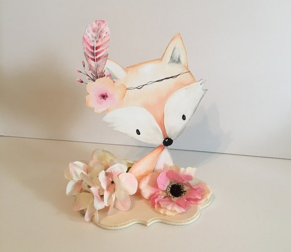 Woodland Baby Shower Decor Centerpieces Nursery Centerpiece Decorations Flowers Floral Woodland Baby Showers Welcome Girl Fox Animal Cut Out