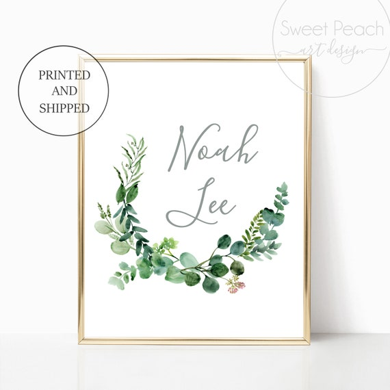 Eucalyptus Name Nursery Decor Gender Neutral Safari Wreath Wall Art Print Framed Decoration Boy or Girl Vines Custom Garden French Greenery