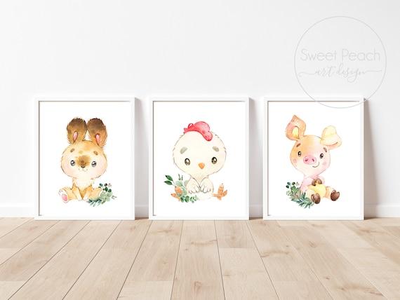 Farm Nursery Decor Animal Wall Art Printed Bunny Rabbit Chicken Rooster Chick Pig Piglet Baby Room Set Farm Print Framed Farmer Theme Shower