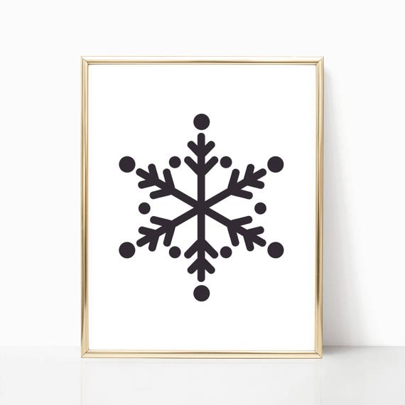 Christmas Decor Gifts Holiday Print Digital Printable Instant Download Wall Art Arts Decorations Decoration Black and White Snowflake Snow