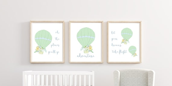 Hot Air Balloon Boy Nursery Decor Wall Art Printed Prints Set Cute Print Unframed Matching Sets of 3 Three Adventure Oh The Places You Will