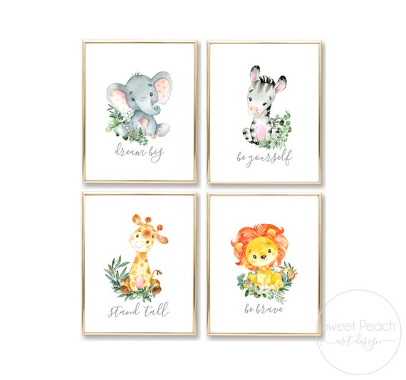 Safari Nursery Greenery Decor Jungle Zoo Animal Wall Art Prints Cute Art Print Framed Elephant Lion Zebra Giraffe Crib Set Printed Frame