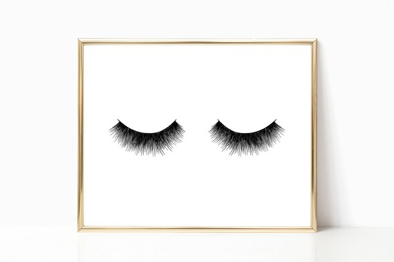 Glam Decor Glamour Print Eyelash Lash Fashion Chic Prints Stylish Woman Digital Printable Instant Download Black and White Minimalist Style