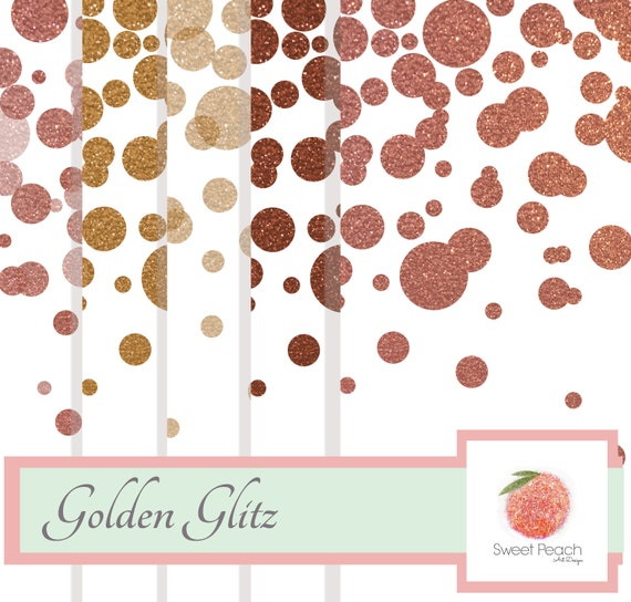 Confetti Gold Glitter Digital Paper Pack Digital Background Instant Download Commercial Use Scrapbook Paper Glitter Background Set Rose Gold
