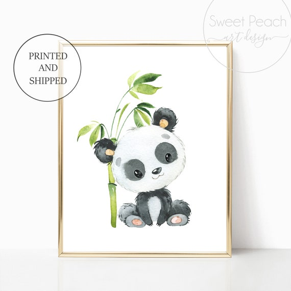 Panda Bear Nursery Wall Art Safari Jungle Decor Zoo Animal Art Prints Cute Art Print Framed Print Bamboo China Panda Boy Girl Gender Neutral
