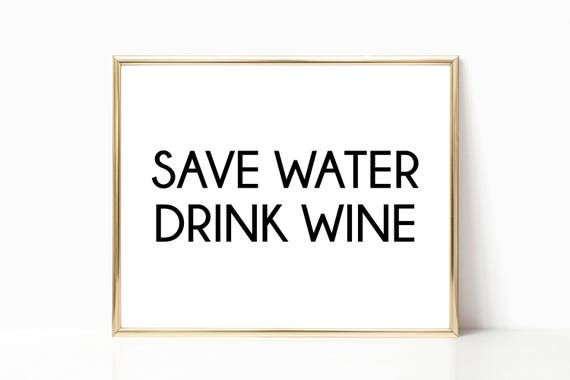 Glam Fashion Decor Save Water Drink Wine Quote Glamour Prints Chic Style Woman Digital Printable Instant Download Black White Wall Art Arts