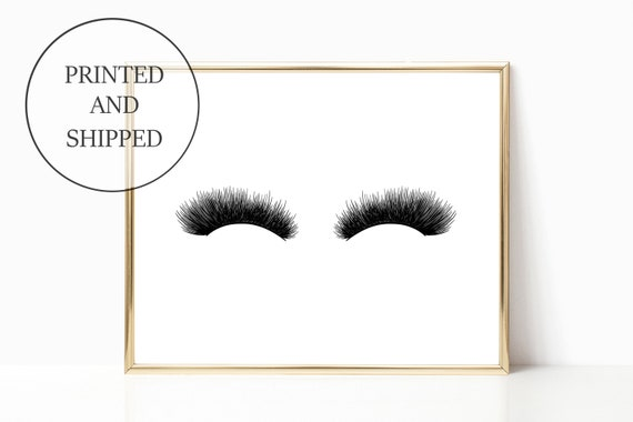 Glam Eyelash Decor Fashion Print Sign Wall Art Prints Signs 11 x 14 Printed Makeup Eyelashes Mascara Woman Gift For Her Home Girly Office