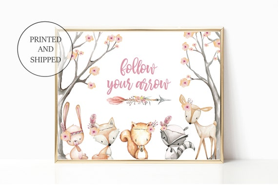 Girl Nursery Woodland Decor Follow Your Arrow Fox Animal Wall Art Prints Set Cute Animal Art Baby Name Forest Print Unframed Matching Woods