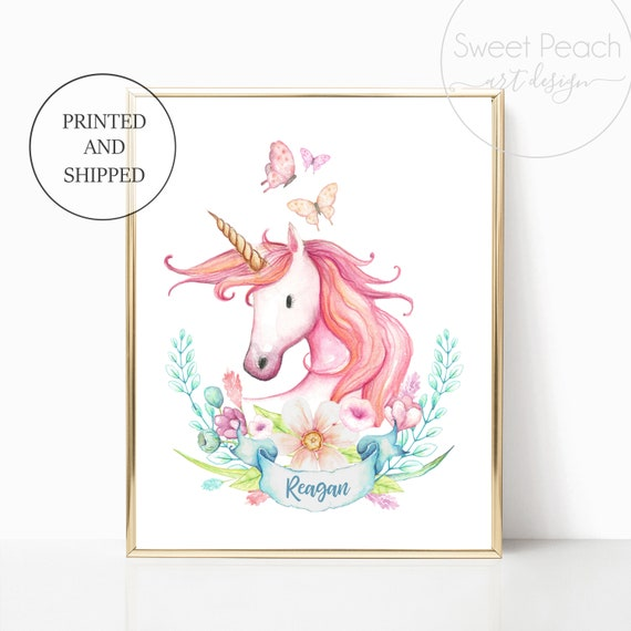 Unicorn Nursery Decor Name Banner Floral Unicorns Girl Print Wall Art Girl Room Frame Sets Little Girls Nursery Art Pastel Custom Name Art