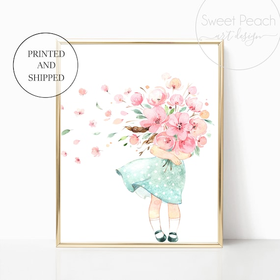 Wind Flower Nursery Decor Wall Art Print Set Mint Flower Floral Matching Sets of 3 Girl Rain Boots Spring Showers Wind Takes Her Watercolor