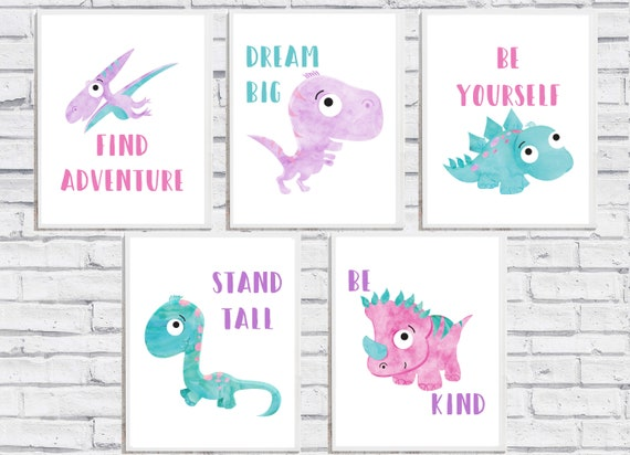 Dinosaur Girl Nursery Decor Wall Art Printable Prints Gift Digital Download Print Baby Room Dino Watercolor Little Poster Dream Big Be Kind