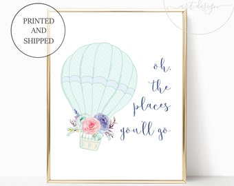 Girl Balloon Nursery Decor Printed Girl Wall Art Prints Decor Print Mint Green Prints Matching Sets Girls Oh The Places You Will Go Gifts