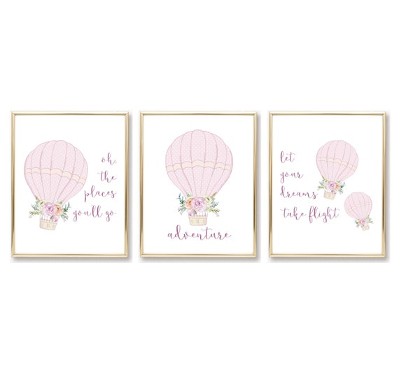 Girl Nursery Decor Hot Air Balloon Wall Art Digital Print Download Printable Downloadable Prints Baby Watercolor Gallery Poster Baby Room