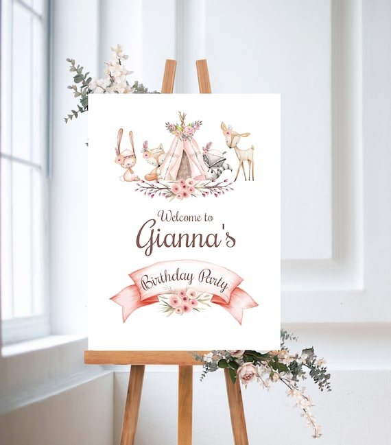 Birthday Sign Tipi Woodland Girl Boho Animal Floral Printable Prints Watercolor Flower Digital Wall Art Wood Animals Digital Arts Fox Poster