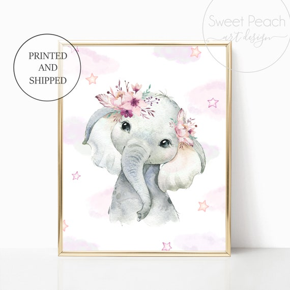 Boho Elephant Nursery Cloud Stars Floral Decor Safari Zoo Animal Wall Art Prints Set Art Print Framed Bohemian Print Decoration Flower Mauve