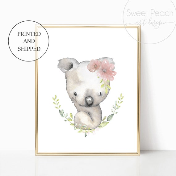 Australia Koala Bear Nursery Floral Decor Australian Animal Wall Art Set Print Framed Flower Koala Nursery Pink Grey Greenery Outback Safari