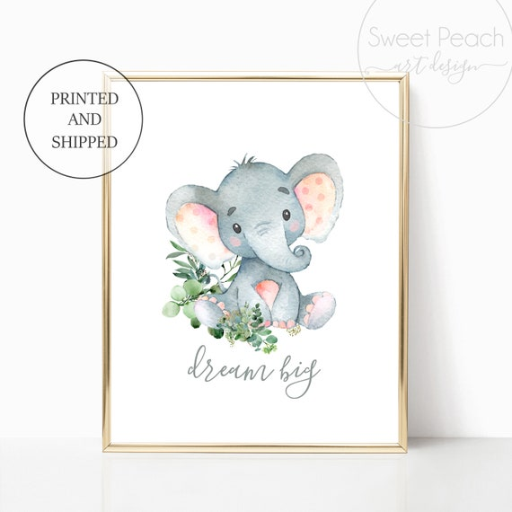Elephant Nursery Safari Decor Dream Big Jungle Greenery Zoo Animal Wall Art Prints Set Cute Art Print Framed Print Decoration Gray Green Art