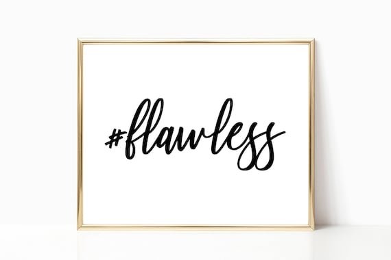 Glam Decor Fashion Wall Art #flawless Hashtag Quote Glamour Prints Chic Stylish Woman Digital Printable Instant Download Black White Art
