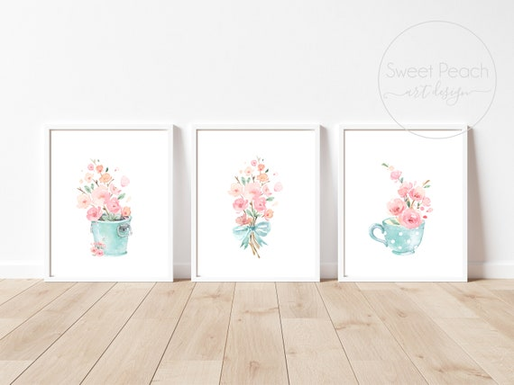 Flower Nursery Decor Floral Wall Art Print Set Mint Flower Floral Matching Sets of 3 Girl Watercolor Whimsical Rainboot Decoration Floral