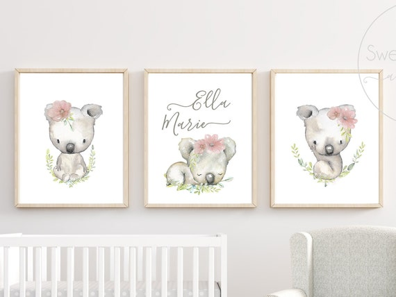 Koala Bear Nursery Name Floral Decor Australia Australian Animal Wall Art Set Print Framed Flower Koala Nursery Art Pink Grey Decoration