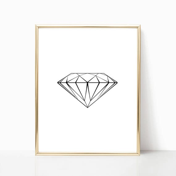 Diamond Fashion Print Glam Decor Digital Download Print Printable Gift Teen Girl Wall Art Glam Sparkle Diamond Poster Glamour Arts Black