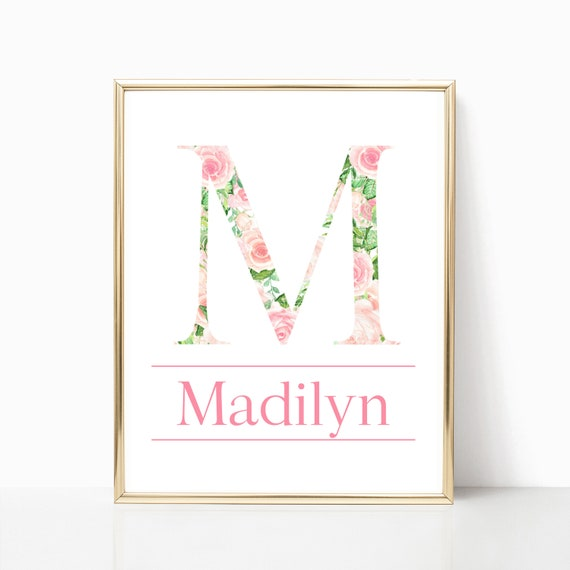 Girl Name Nursery Decor Custom Letter Initial Print Wall Art Personalized Printable Watercolor Flower Download Baby Girls Room Gift Shower