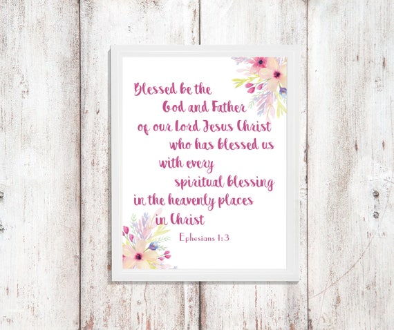 Religious Bible Verse Blessed God Digital Printable Instant Download Wall Art Quote Decor Printable God Jesus Gift for Her Watercolor flower