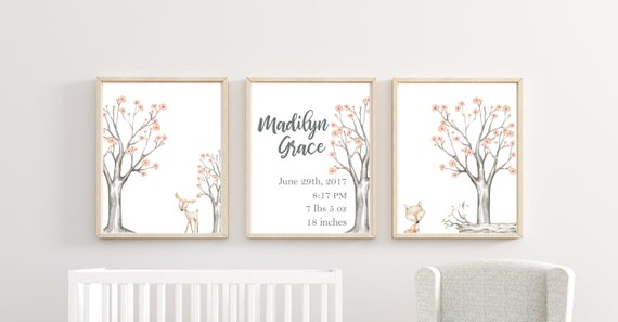 Woodland Nursery Decor Custom Name Set Tree Girl Floral Wall Art Printed Gray Peach Prints Animal Baby Stats Framed Newborn Info Birthday