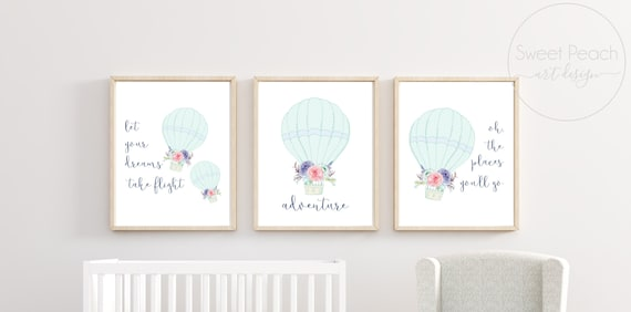 Hot Air Balloon Boy Nursery Decor Wall Art Printed Prints Set Cute Print Mint Navy Matching Sets of 3 Three Adventure Oh The Places You Will