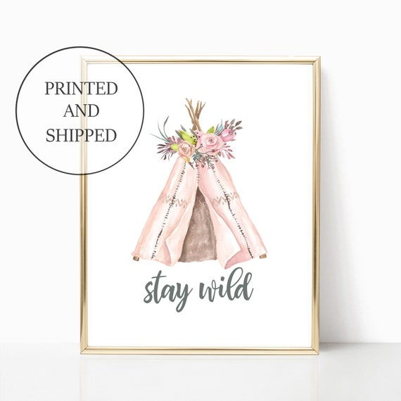 Tribal Girl Nursery Wall Art Prints Boho Tipi Pink Set Decor Cute Art Print Framed Matching Sets Baby Girls Nursery Baby Shower Room Woodlan