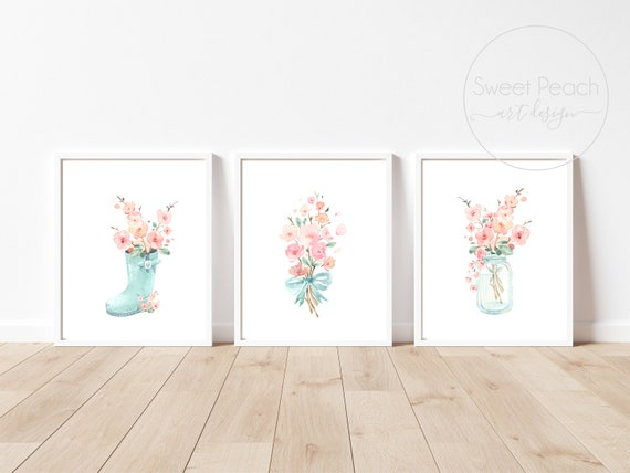 Flower Nursery Decor Floral Wall Art Print Set Mint Flower Floral Matching Sets of 3 Girl Watercolor Whimsical Rainboot Floral Decoration