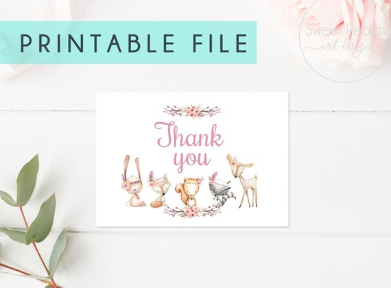 PRINTABLE Thank You Cards Baby Shower Woodland Girl Nursery Books for Baby 3.5 x 5 Thanks Tags Animal Woodland Theme Set Party Deer Fawn