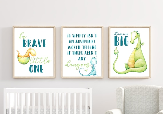 Boy Dragon Dinosaur Nursery Decor Wall Art Printed Prints Set Print Framed Unframed 11x14 Fantasy Be Brave Dragons Dream Big Adventure Worth