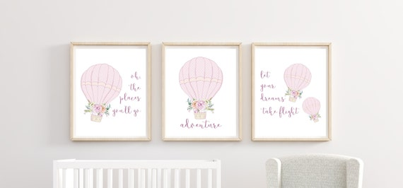 Printed Girl Nursery Wall Art Decor Prints Set Cute Hot Air Balloon Art Print Framed Matching Sets of 3 Three Adventure Oh The Places You