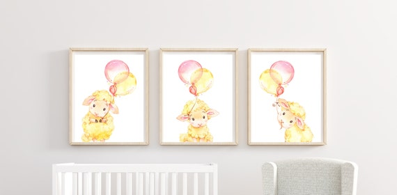 Lamb Sheep Nursery Decor Farm Boy Girl Wall Art Printed Prints Set Cute Animals Unframed Balloons Birthday Newborn Stat Little Room Party