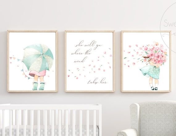 Wind Umbrella Nursery Decor Wall Art Print Set Mint Flower Floral Matching Sets of 3 Girl She Will Go Where The Wind Takes Her Watercolor