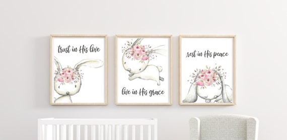 Christian Nursery Decor Woodland Scripture Bible Bunny Floral Wall Art Prints Set Cute Animal Art Rabbit Printed Unframed Prints Easter Set