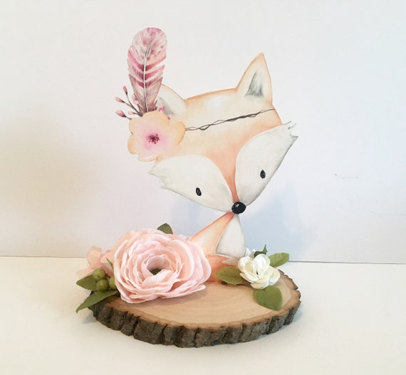 Woodland Baby Shower Decor Centerpieces REAL Wood Slice Art Nursery Decorations Flowers Floral Baby Showers Welcome Girl Fox Animal Cut Out