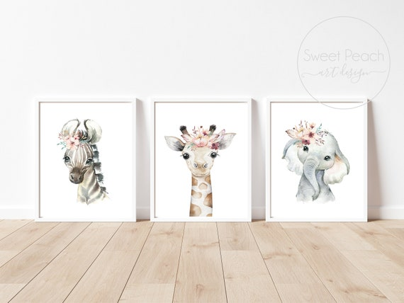 Flower Nursery Decor Australian Animal Wall Art Giraffe Zebra Printed Prints Set Framed Outback Elephant Australia Framed Safari Zoo Floral