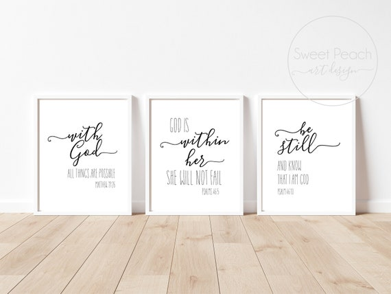 Scripture Set Matthew 19 26 Psalm 46 Print Decor Christian Wall Art Framed Black White 11x14 8x10 Printed Shipped God God is Within Her Know