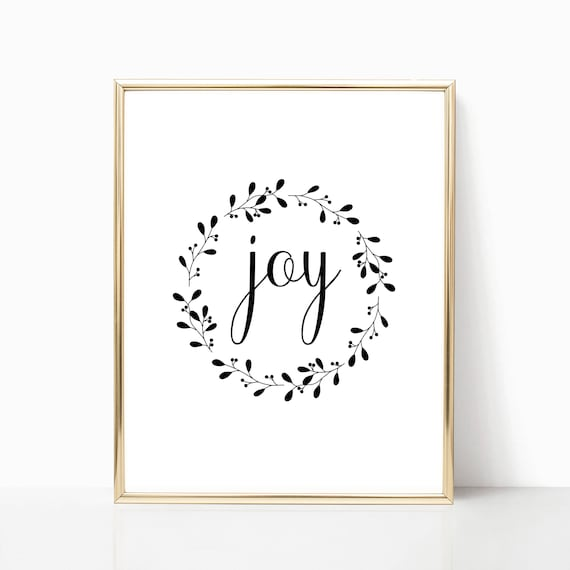 Christmas Decorations Gifts Decor Holiday Print Digital Joy Wreath Printable Instant Download Wall Art Decoration Black and White Holiday