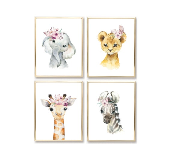Boho Safari Set Nursery Floral Decor Zoo Animal Wall Art Prints Cute Art Print Framed Print Flower Lavender Elephant Lion Zebra Giraffe Arts