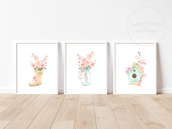 Flower Nursery Decor Floral Wall Art Print Set Mint Flower Floral Matching Set of 3 Girl Watercolor Whimsical Floral Rainboot Decorations