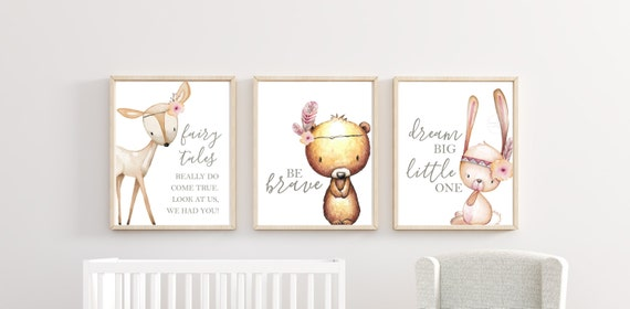 Woodland Nursery Decor Boho Floral Wall Art Printed Prints Set Animals Bear Deer Bunny Be Brave Dream Big Little One Fairytales Do Come True