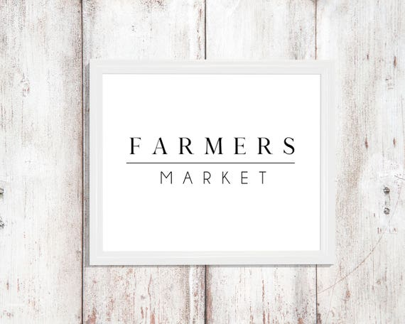 Kitchen Print Decor Farmers Market Sign Digital Download Instant Wall Art Printable Modern Design Poster Fall Pantry Dining Room Poster Prin